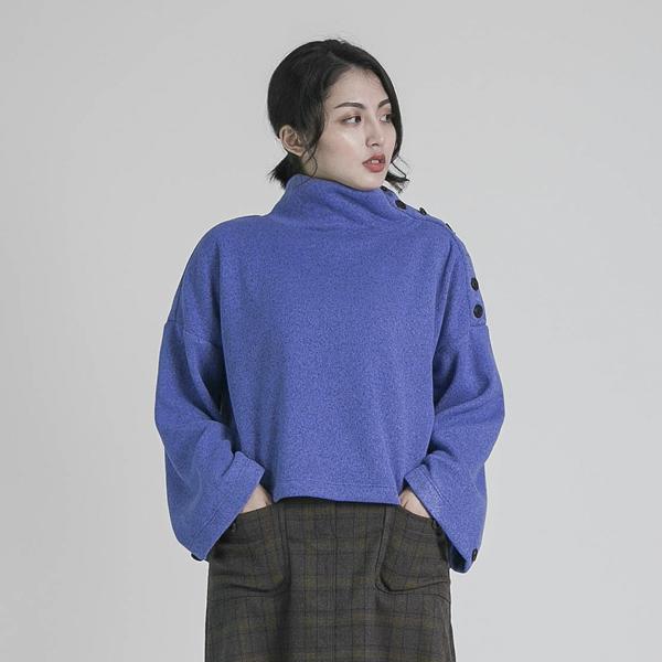 Density 密度前短後長寬袖上衣_藍紫
