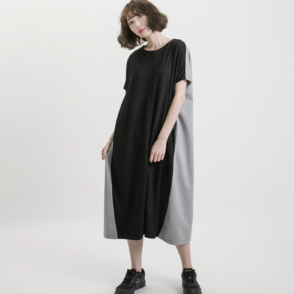 Utopia_烏托邦撞色短袖洋裝_黑/灰