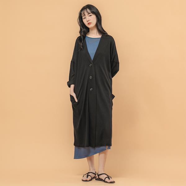 Flora_緋花大口袋罩衫_黑