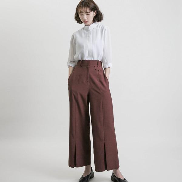 Pure_純真合褶寬褲_磚紅