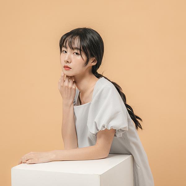 Liwa_離瓦口袋洋裝_灰白條紋
