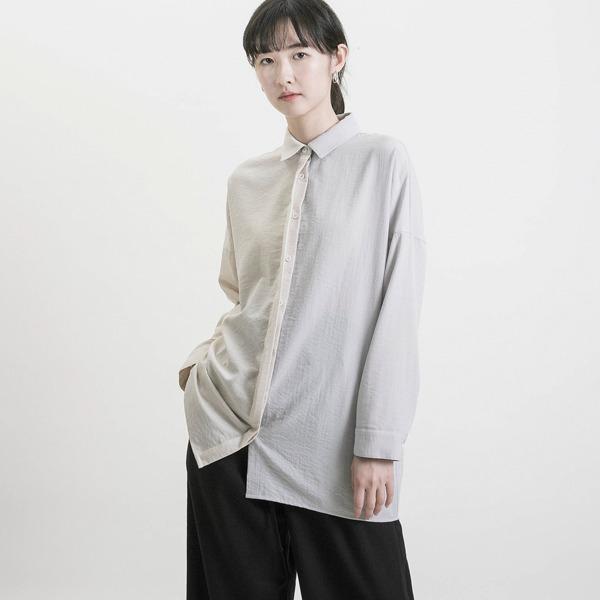 Boundary_界線拼色襯衫_淺灰/裸