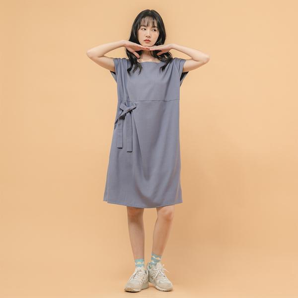 Twilight_暮色綁帶洋裝_灰藍