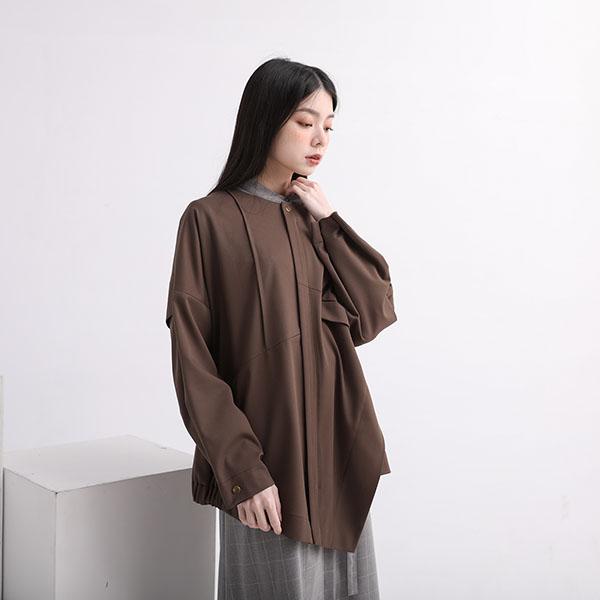 Liutang_流淌剪接外套_橄欖