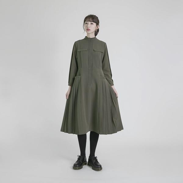 Declaration_宣言褶子洋裝_軍綠