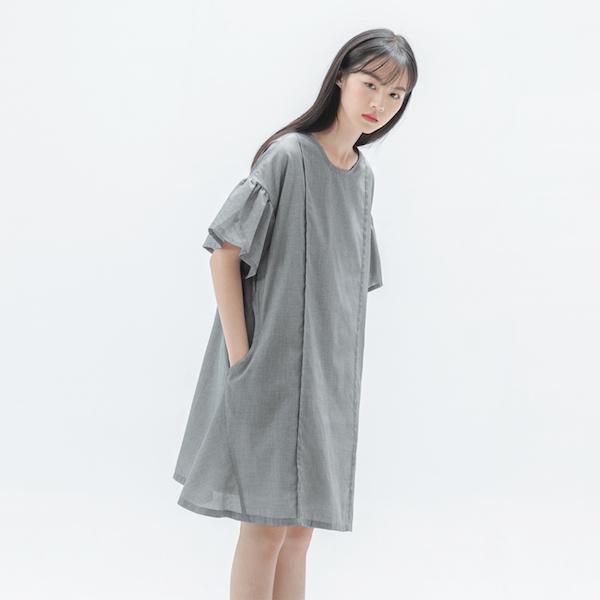 Elegant_綺麗褶片造型洋裝_千鳥格