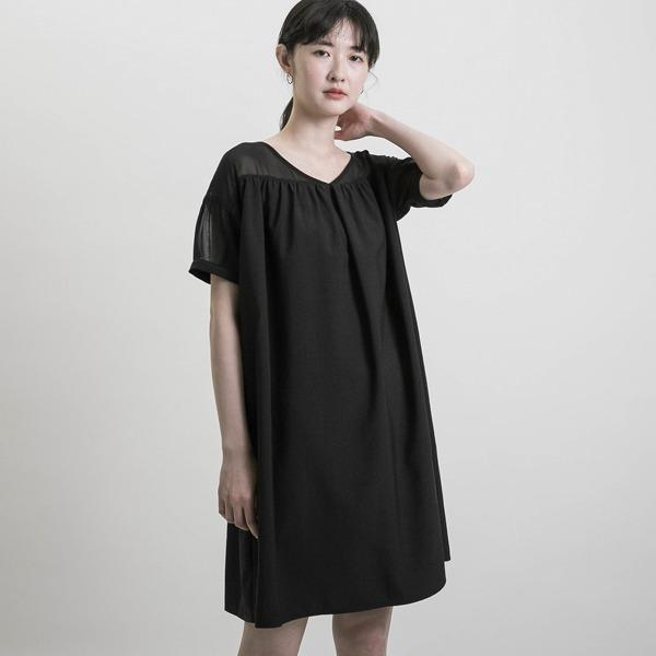 Dreamlike_如夢拼接紡紗洋裝_黑