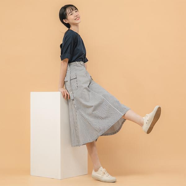 Sandbar_沙洲大口袋裙_藍條紋