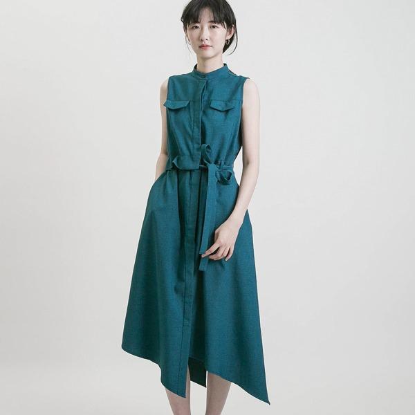 Relativity_時空不對稱洋裝_孔雀綠