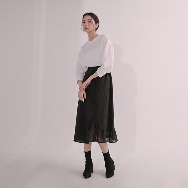 【21AW秋冬新品】Yanyu_煙雨拼接透視長裙_黑