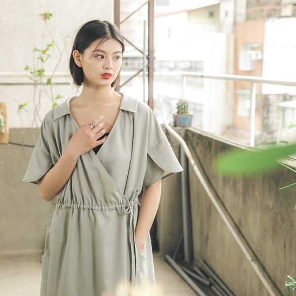 //SUMI x WEARMACAU//  Yanfei_煙霏和服式洋裝_療癒綠