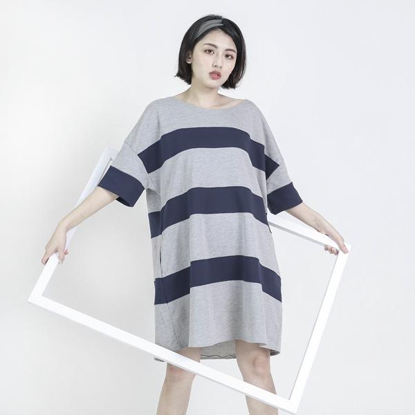 Element 元素條紋寬鬆上衣洋裝_灰藍