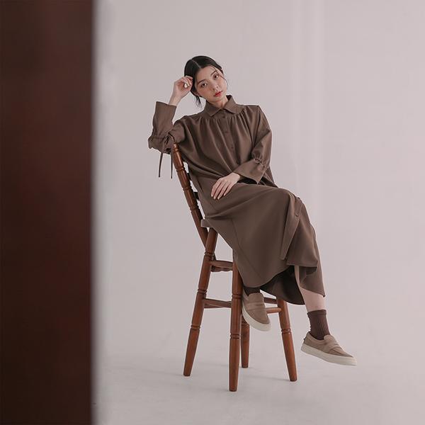 Chin Shih_侵蝕不對稱襯衫洋裝_棕
