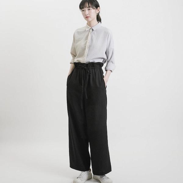 Trace_蹤影荷葉寬褲_黑