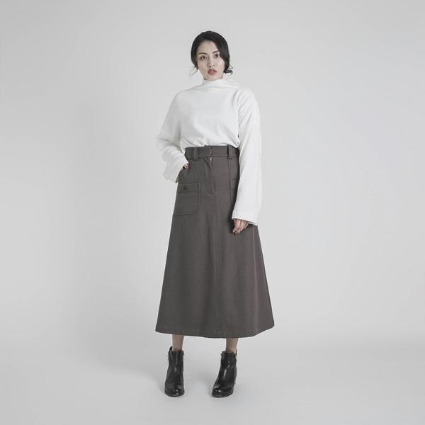 Mark_痕跡大口袋造型羊毛裙_褐色