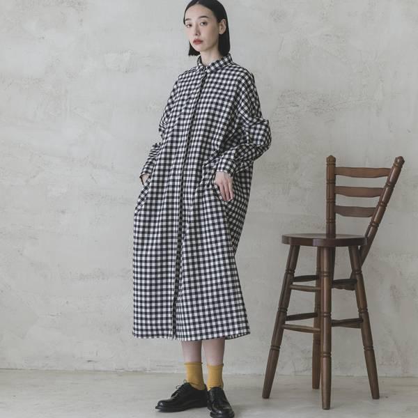 【預購限定9折】Sequence_序列襯衫洋裝_黑白格紋