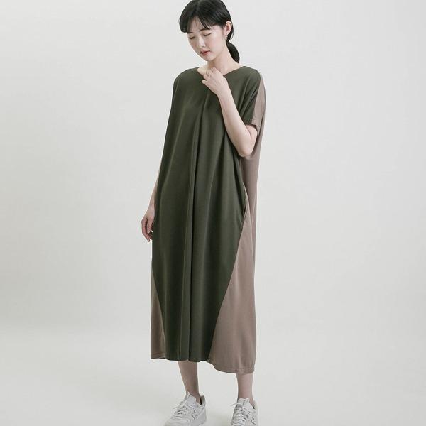 Utopia_烏托邦撞色短袖洋裝_軍綠/褐