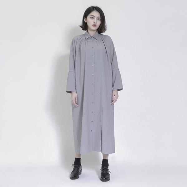 Erode 侵蝕不對稱襯衫洋裝_灰