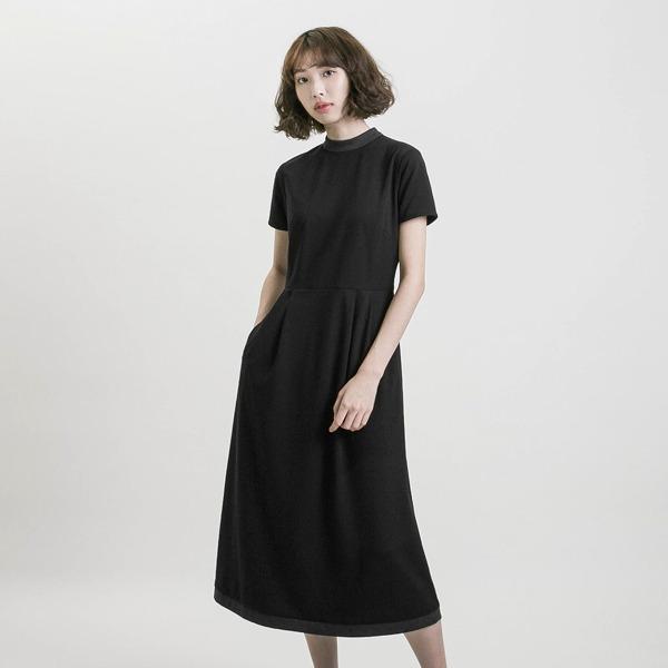Memory_記憶高領撞色洋裝_黑/灰