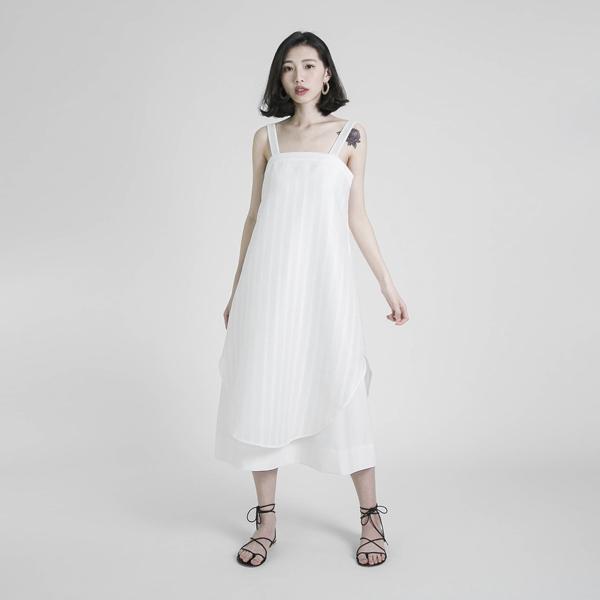 Swish 絮語拼接洋裝_白