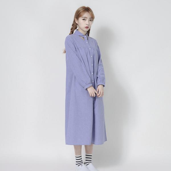 Windsor 溫莎公爵鏤空洋裝_藍紫