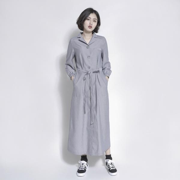 Breeze 微風綁帶洋裝_灰條紋