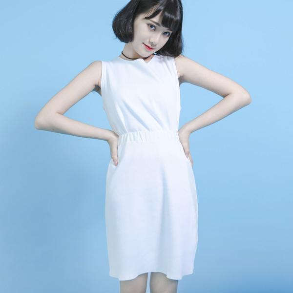 Chemical 化合物羅紋造型短裙_白