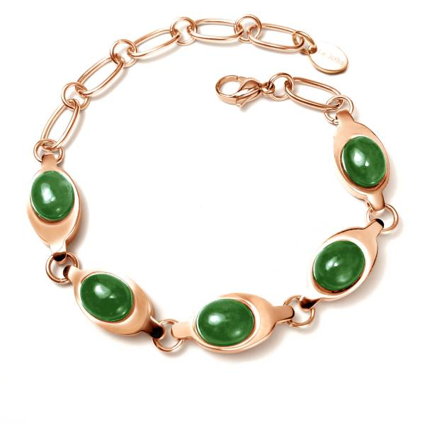Zhen Huan - Green Jade - Rose Gold - Bracelet titanium germanium jewelry,bracelet,chains,bangles,couple bracelet,blood circulation,magnetite,La Jolla,neck strain,shoulder pain,massage,healthy,light, sedentary,prolonged standing,healthy,varices,ge