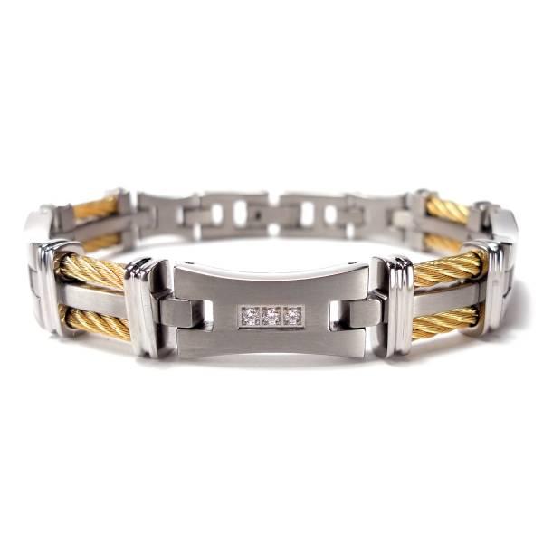 Silk Road - Zircon - Golden - Bracelet titanium germanium jewelry,bracelet,chains,bangles,couple bracelet,blood circulation,magnetite,La Jolla,neck strain,shoulder pain,massage,healthy,light, sedentary,prolonged standing,healthy,varices,ge