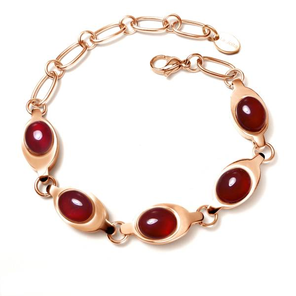 Consort Hua - Ruby Chalcedony - Rose Gold - Bracelet titanium germanium jewelry,bracelet,chains,bangles,couple bracelet,blood circulation,magnetite,La Jolla,neck strain,shoulder pain,massage,healthy,light, sedentary,prolonged standing,healthy,varices,ge