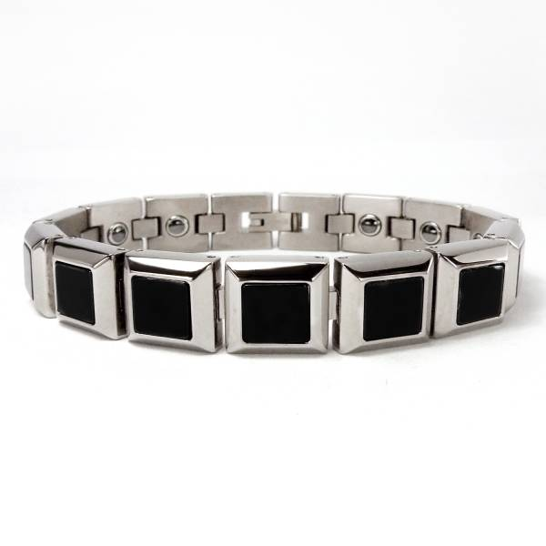 Yuppie - Black Onyx - Bracelet titanium germanium jewelry,bracelet,chains,bangles,couple bracelet,blood circulation,magnetite,La Jolla,neck strain,shoulder pain,massage,healthy,light, sedentary,prolonged standing,healthy,varices,ge