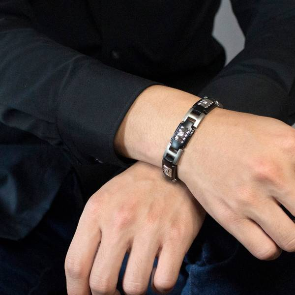 Black Samurai - Bracelet titanium germanium jewelry,bracelet,chains,bangles,couple bracelet,blood circulation,magnetite,La Jolla,neck strain,shoulder pain,massage,healthy,light, sedentary,prolonged standing,healthy,varices,ge