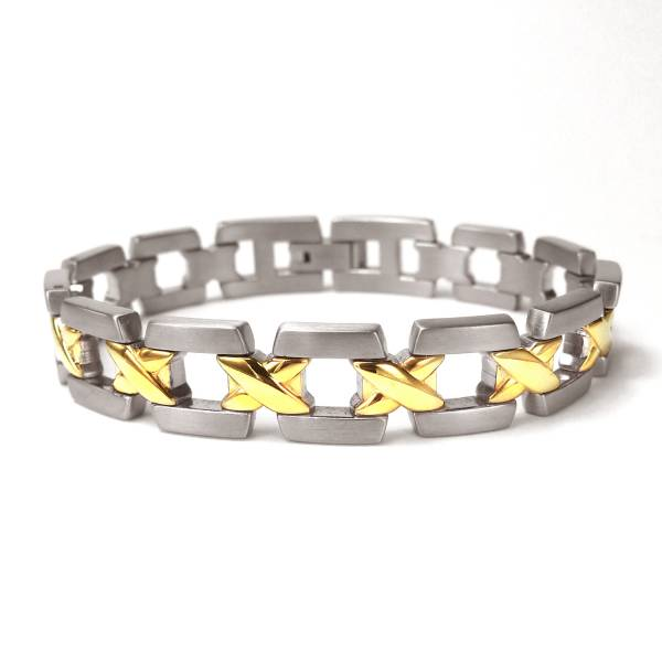 Midday Sunshine & Midnight Motion - 18k Gold - Male Bracelet titanium germanium jewelry,bracelet,chains,bangles,couple bracelet,blood circulation,magnetite,La Jolla,neck strain,shoulder pain,massage,healthy,light, sedentary,prolonged standing,healthy,varices,ge
