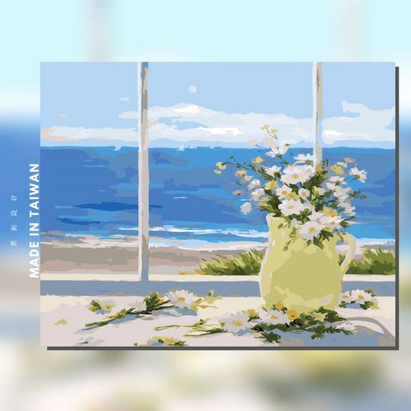 海景雛菊|MANTO創意數字油畫(4050M) 盆花,海景,數字油畫,manto,台灣數字油畫,數字油畫批發,數字油畫團購