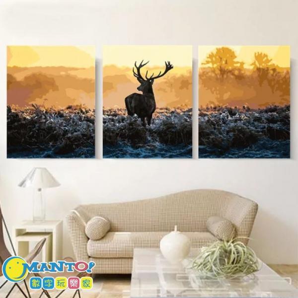 勇氣-三拼|MANTO創意數字油畫(4050M) 鹿,動物畫,數字油畫,manto,台灣數字油畫,數字油畫批發,倫敦