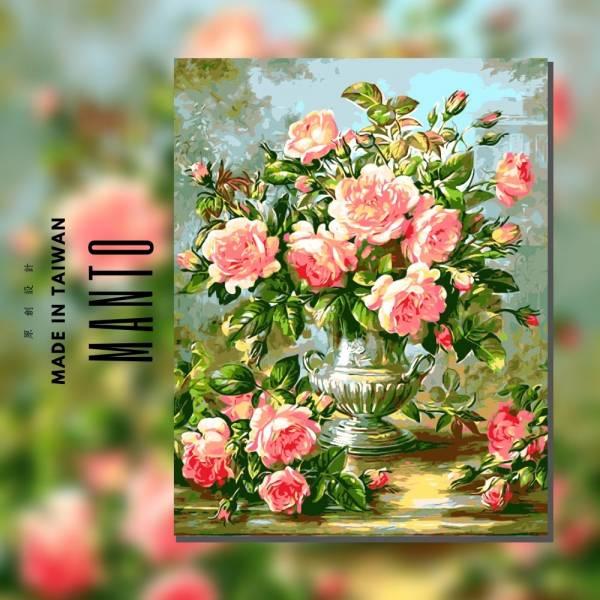粉月季花|MANTO創意數字油畫(4050M) 粉月季花,花卉畫,數字油畫,manto,台灣數字油畫,數字油畫批發,倫敦