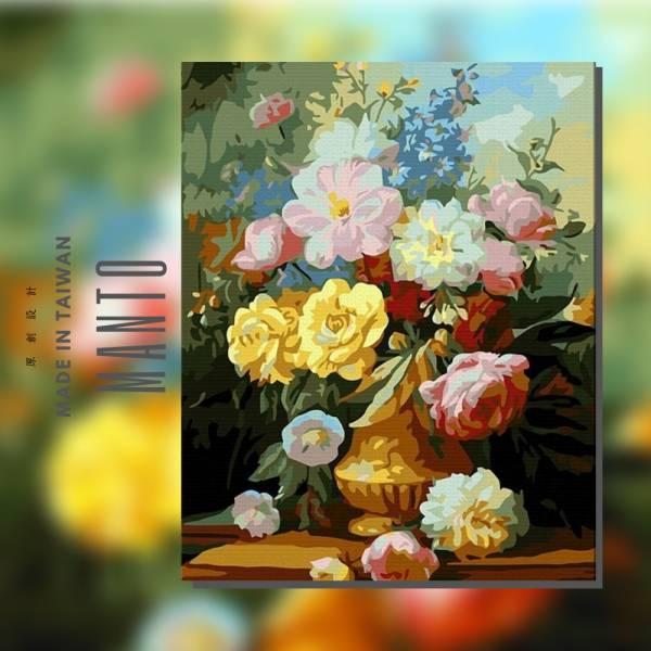 典雅馨香 MANTO創意數字油畫(4050) 盆花畫,花,數字油畫,manto,台灣數字油畫,數字油畫批發,數字油畫團購