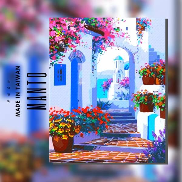 希臘小徑|MANTO創意數字油畫(4050M) 地中海,希臘,數字油畫,manto,台灣數字油畫,數字油畫批發,數字油畫團購