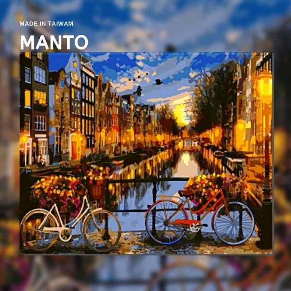 河畔夜景|MANTO創意數字油畫(4050M) 阿姆斯特丹,風景畫,數字油畫,manto,台灣數字油畫,數字油畫批發,倫敦