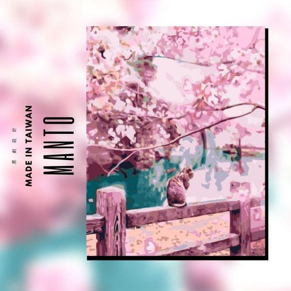 貓咪戀櫻|MANTO創意數字油畫(4050M) 貓咪,櫻花,數字油畫,manto,數字畫