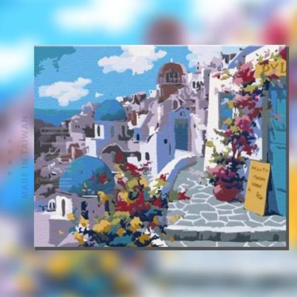 花戀愛琴海(希臘)|MANTO創意數字油畫(4050) 愛琴海,風景畫,數字油畫,manto,台灣數字油畫,數字油畫批發,數字油畫團購