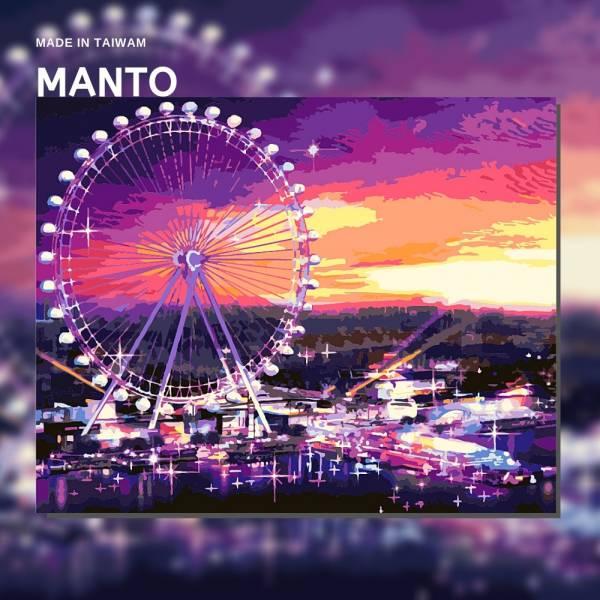 紫愛摩天輪|MANTO創意數字油畫(4050M) 摩天輪,風景畫,數字油畫,manto,台灣數字油畫,數字油畫批發,倫敦