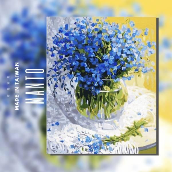 藍星花|MANTO創意數字油畫(4050) 花,油畫,盆花,數字油畫,manto,台灣數字油畫,數字油畫批發,數字油畫團購