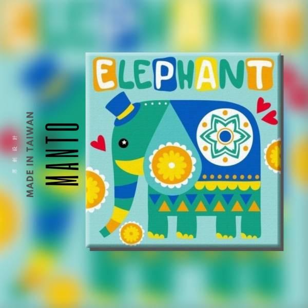 花漾紳士藍象|MANTO創意數字油畫(3030) 象,花朵,數字油畫,manto,台灣數字油畫,數字油畫批發,數字油畫團購