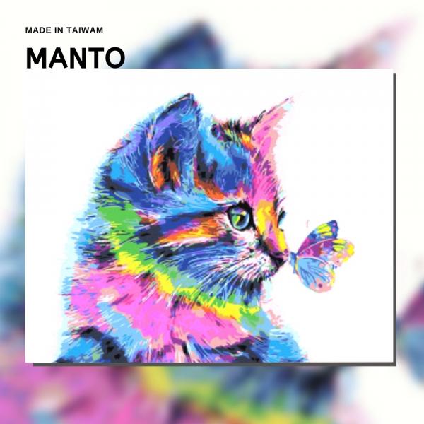 蝶舞貓|MANTO創意數字油畫(4050M) 蝶,貓,數字油畫,manto,台灣數字油畫,數字油畫批發,數字油畫團購
