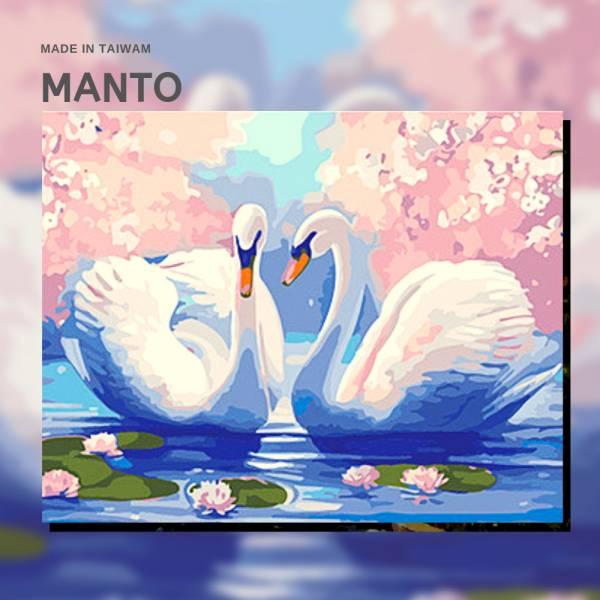 櫻花天鵝湖|MANTO創意數字油畫(4050) 天鵝,風景畫,數字油畫,manto,數字畫