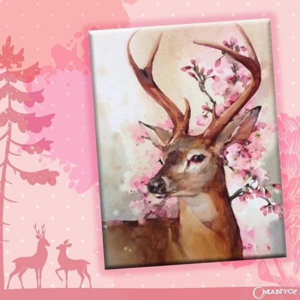 幸福花鹿|MANTO創意數字油畫(4050M) 北歐風,裝飾畫,鹿,數字油畫,manto,台灣數字油畫,數字油畫批發,數字油畫團購