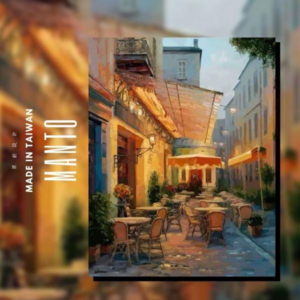 夜晚咖啡座|MANTO創意數字油畫(4050M) 夜晚咖啡座,風景畫,數字油畫,manto,台灣數字油畫,數字油畫批發,倫敦