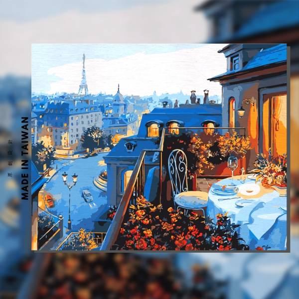 塞納河畔燭光晚宴 |MANTO創意數字油畫(4050M) 風景畫,花田,數字油畫,manto,台灣數字油畫,數字油畫批發,數字油畫團購