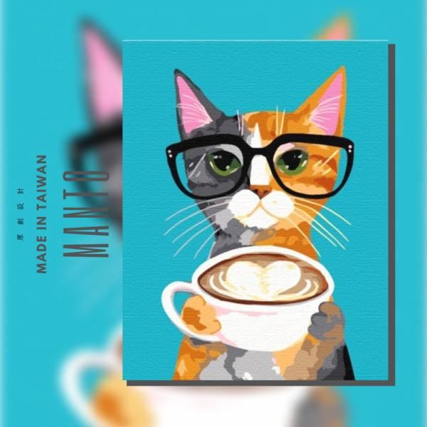 貓咖啡時間【現貨】|MANTO創意數字油畫(4050) 童話,貓,咖啡,數字油畫,manto,台灣數字油畫,數字油畫批發,數字油畫團購